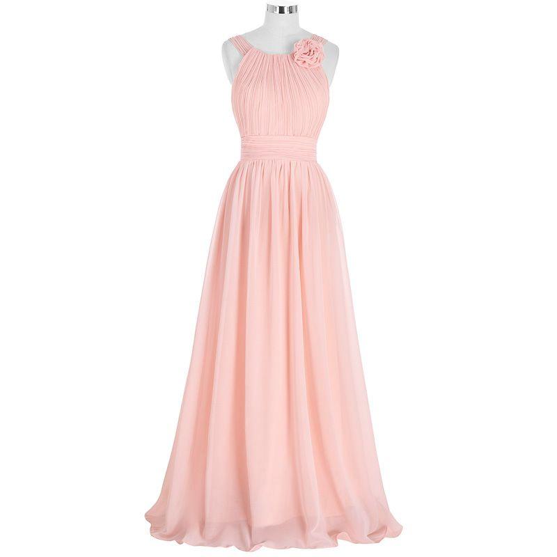 Compre Elegante Rosa Vestido De Dama De Honor Largo Gasa Vestido De ...