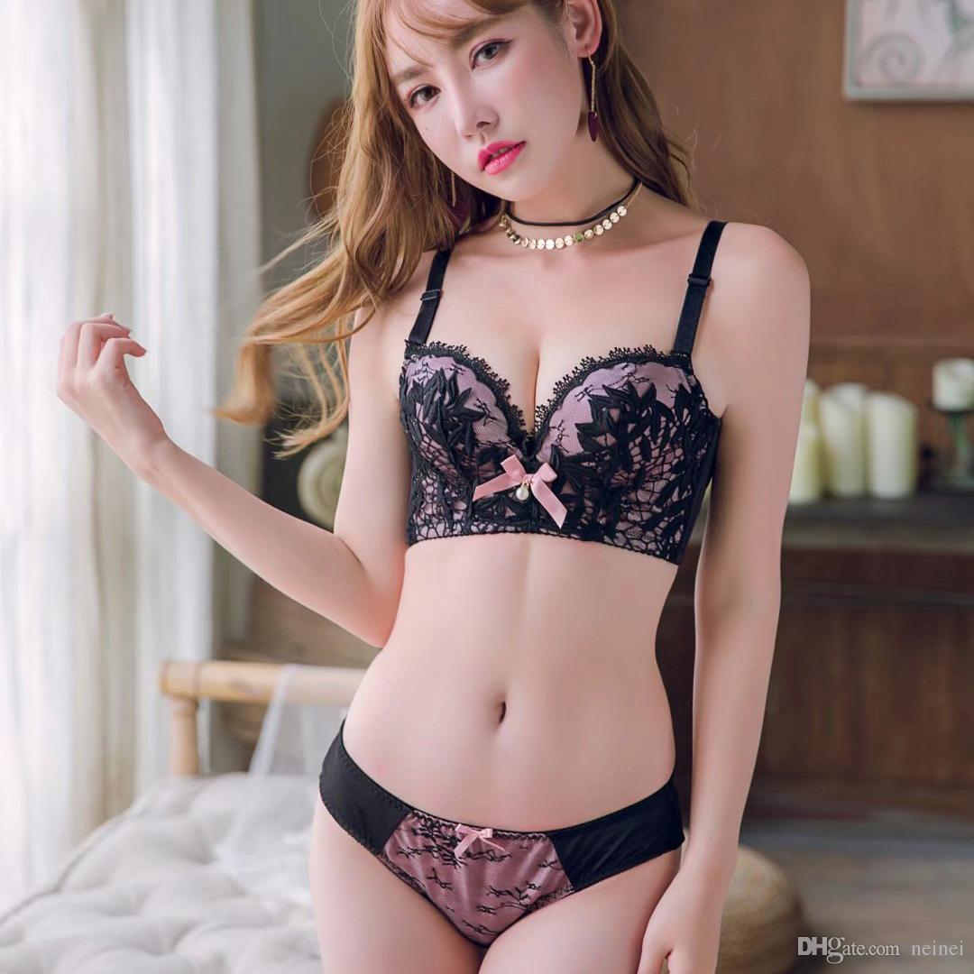 c8ef73689f 2019 Sexy AB Embroidery Women Bra Set Lace Bra Brief Sets Push Up Small  Thicken Bra And Panty Cotton Girls Adjustable Underwear Set From Neinei