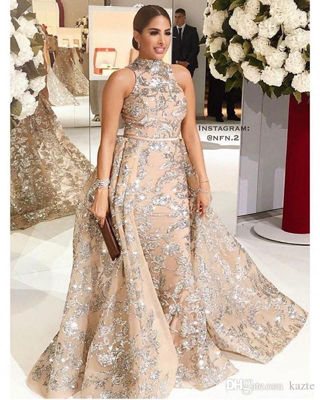 Pailletten Applikationen Meerjungfrau Überrock Abendkleider 2018 Yousef Aljasmi Dubai Arabisch High Neck Plus Size Anlass Prom Party Kleid