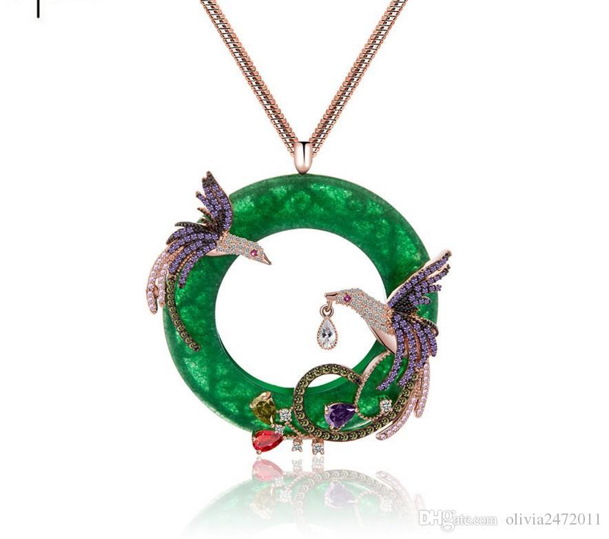 18K Silber Gold Kette Frauen Hochzeit Schmuck Runde Faux Jade Doppel Voller Glänzender Strass Phoenix Vögel Anhänger Halskette TM
