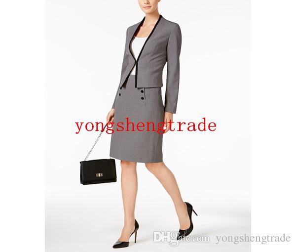 Acheter Vente Chaude Gris Jupe Costume Costumes D affaires Sur Mesure Pour  Les Femmes Sans Col Blazer Bouton Garniture Crayon Jupe Parfait Pour Toute  ... eb02d946d4a