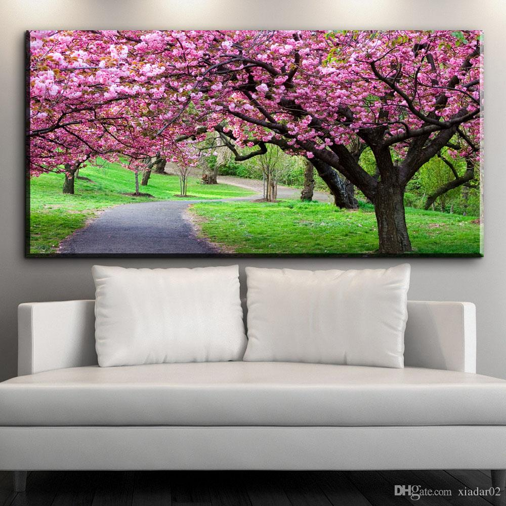 ZZ1541 hause dekorative leinwand gemälde wandkunst schöne kirschblüten blume garten leinwand bilder öl kunst malerei druckt