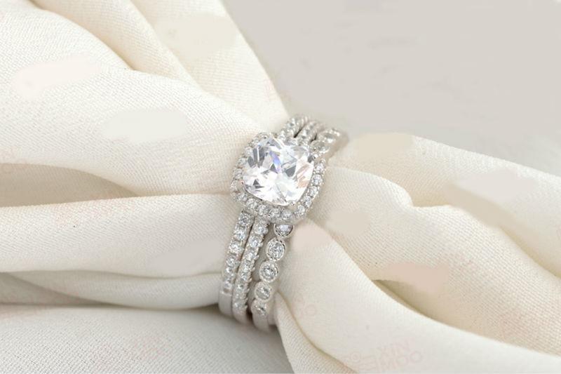 Navio Dos EUA 925 Sterling Silver 3 Peças Conjuntos de Anel de Casamento Para As Mulheres Banda de Noivado Moda Jóias