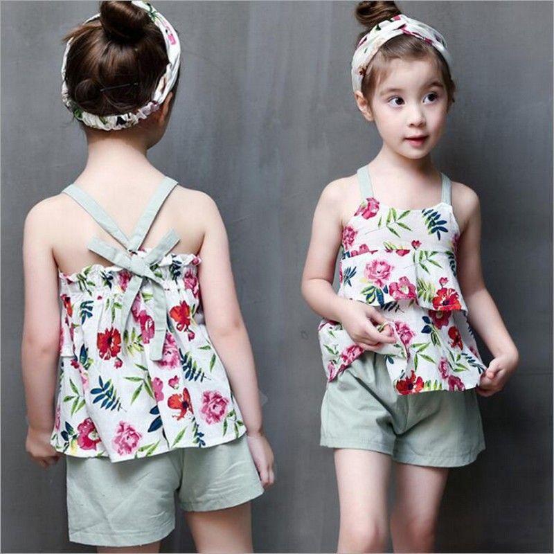 6852d6cb0d72d 2017 Summer Fashion Baby Girls Clothes Children Outfits Cotton Camisole  Little Floral Tops + Pants 2pcs Sets Kids Clothing