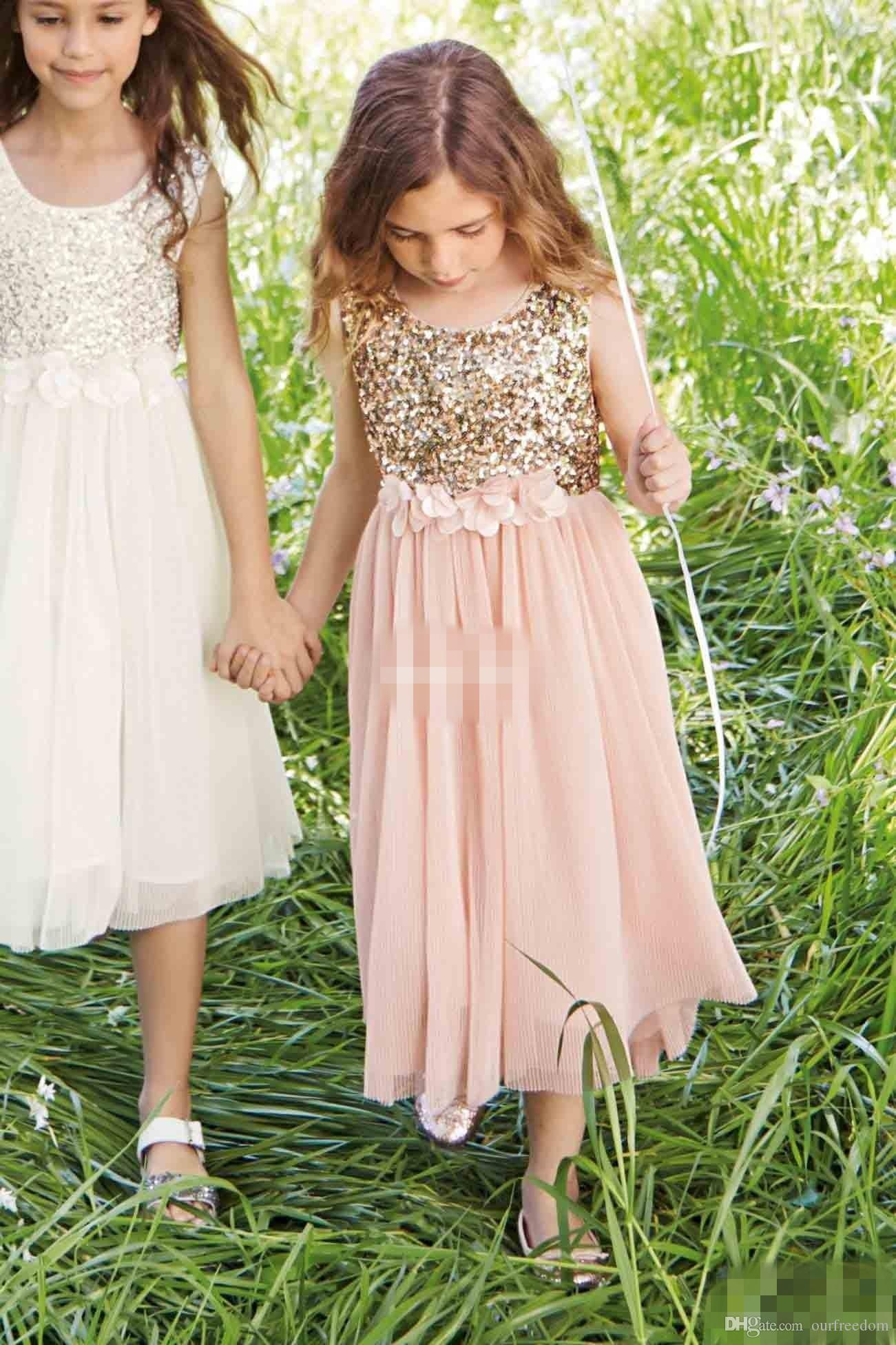 Blush Flower Girls Dresses Gold Sequins Hand Made Flower Sash Tea Length Tulle Jewel A Line Kids Formal Dress Junior Bridesmaid Dress