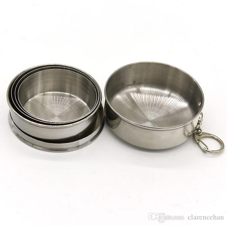 Folding Wine Cup Beer Cup Stainless Steel Wine Glass Portable Wine Set Outdoor Drinkware Multi Key Chains Drinkware Set