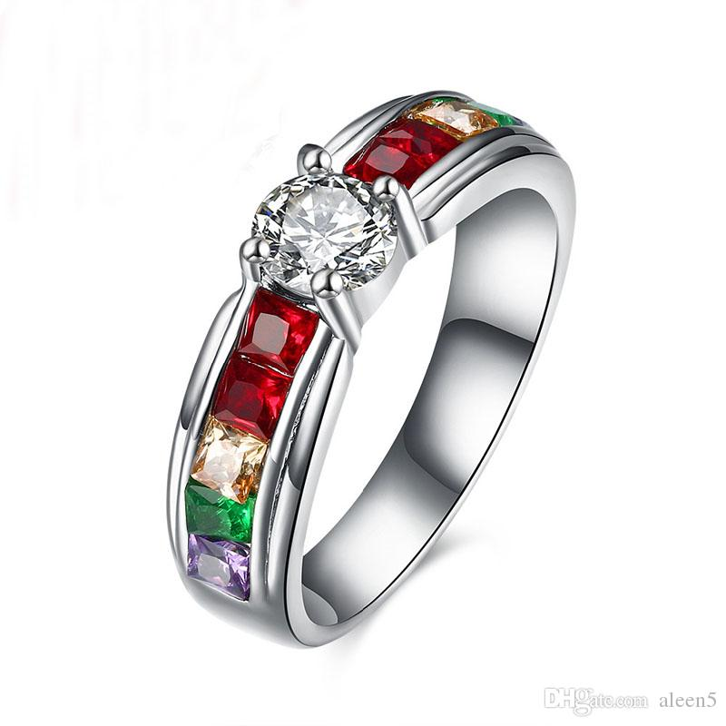 f67a77ed02f03 Wholesale-Men and Women Rainbow Ring the Zircon Austrian Crystal Rainbow  Gay Pride Ring Fine Jewelry