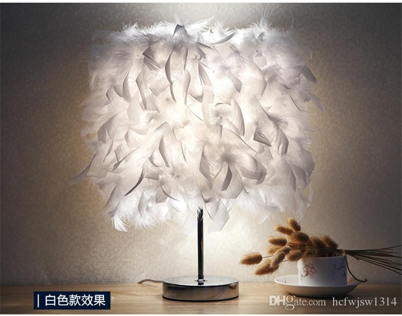 Feather Table Lamp Bedroom Bedside Lamp Simple Modern Romantic