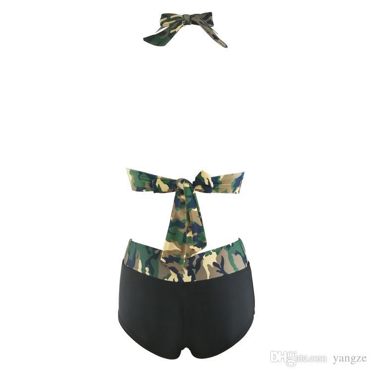 10 unids Mujeres Sexy de dos piezas de baño con cuello en V Camuflaje Camuflaje Push Up Bikini Set S M L XL QP0208