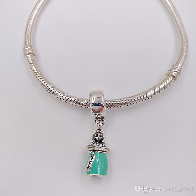 Аутентичные 925 стерлингового серебра 925 DINNY, волшебное зелье Алисы, белая мятная эмаль подходит для европейских ювелирных украшений в стиле Pandora