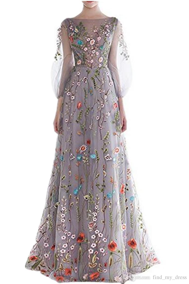 3/4 de manga larga 2019 Nuevos vestidos de noche de manga larga de las mujeres coloridas Vestidos de desfile formales bordados florales Verano caliente Ocasión especial