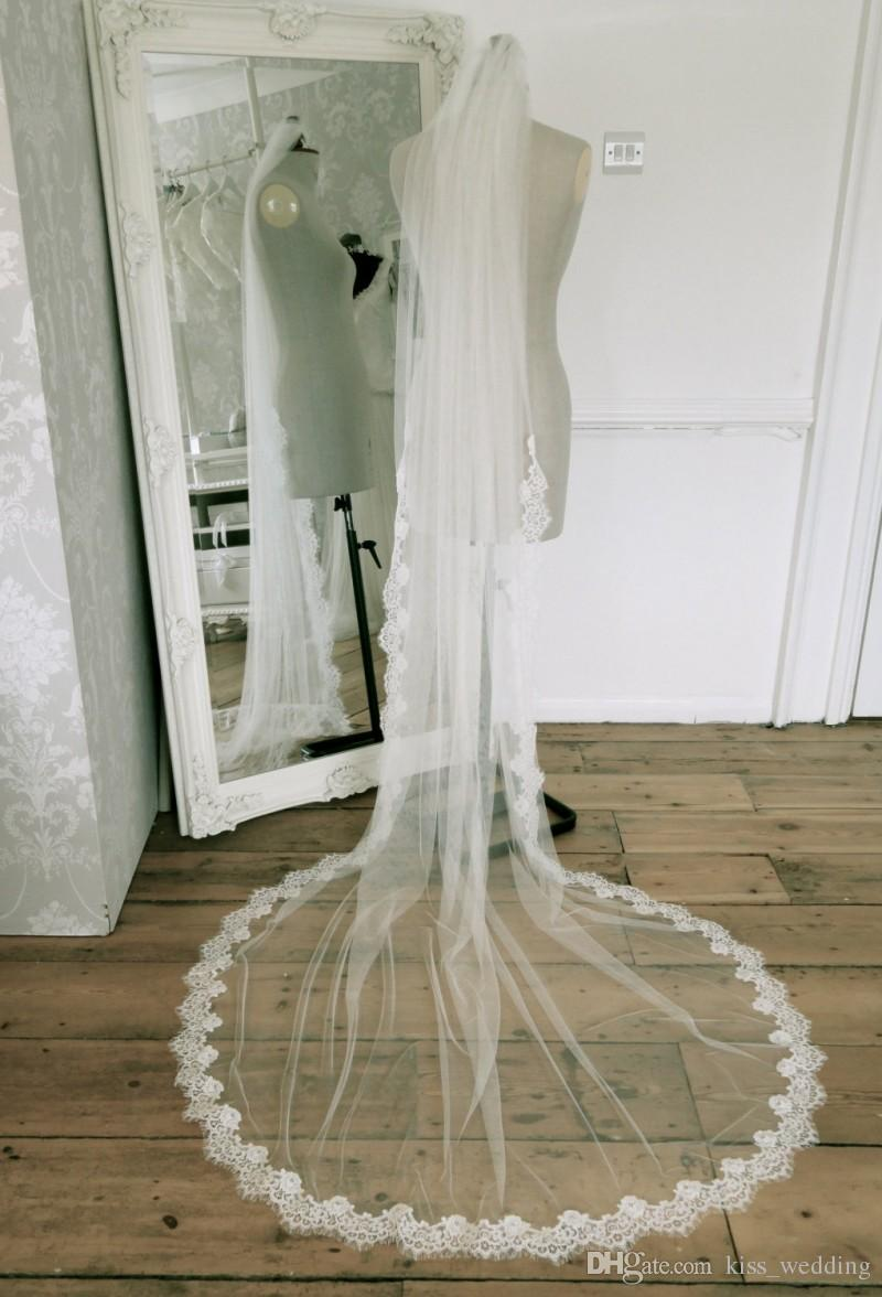 Cheap Price One Tier Bridal Veils For Weddings 3m Long Tulle Cut Edge With Free Comb Lace Wedding Ivory Custom Made Melbourne