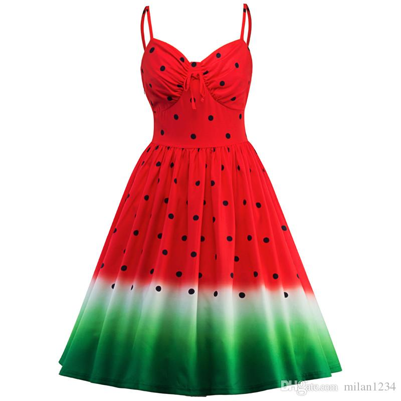 2b3db5936f5 Women S Party Dresses 50s 60s Rockabilly Robe Watermelon Print Dress Vintage  Women Feminino Vestidos Swing Strap Dresses Canada 2019 From Milan1234