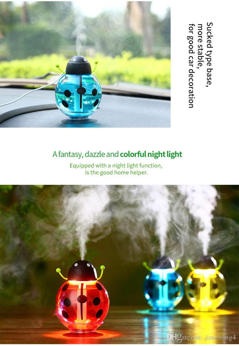 GX02-11, petite coccinelle voiture usb humidificateur incubateur diffuseur led