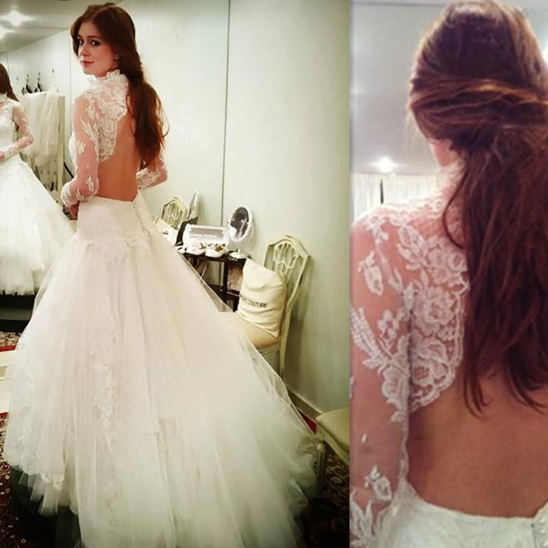 2017 Garden Open Back Wedding Dresses High Neck Tulle Appliques Lace Bridal Gowns Long Sleeved Robe De Mariee Courte Chiffon Designer