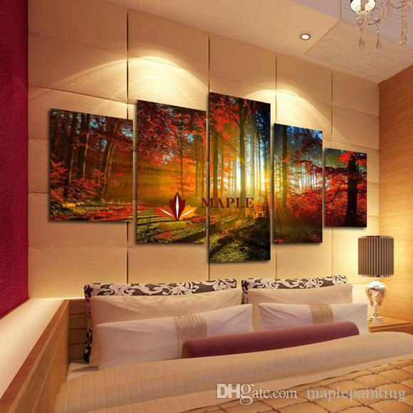 Large Wall Pictures For Living Room: 2019 5 Panel Forest Painting Canvas Wall Art Picture Home