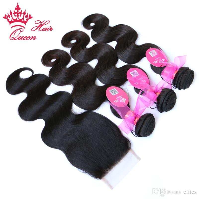 Королева волос 1 шт. кружева закрытие с 3 шт. расслоение,4 шт./лот бразильские девственные человеческие волосы наращивание тела волна 10