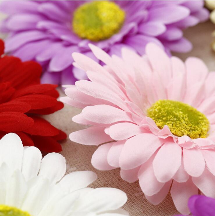 10 سنتيمتر الديكور الحرير ديزي الزهور الاصطناعية لزينة الزفاف الديكور المنزل الأقحوان mariage فلوريس النباتات الزهور 9 اللون