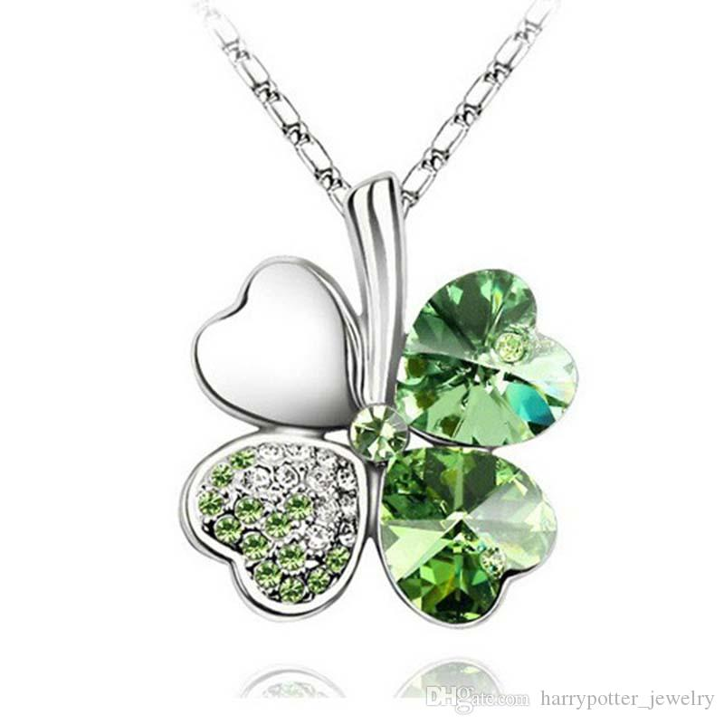 Four Leaf Clover Necklaces Pendants bracelet earring stud brooch Heart Crystal jewelry sets Fashion Jewelry For wedding Drop Ship 162068