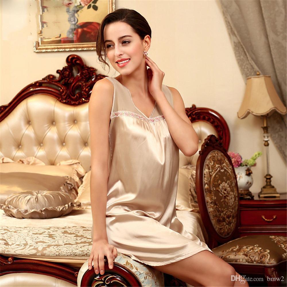 2017 Sexy Ledias Sleeveless Nightgown Hot Sale Nightgown One Piece ...