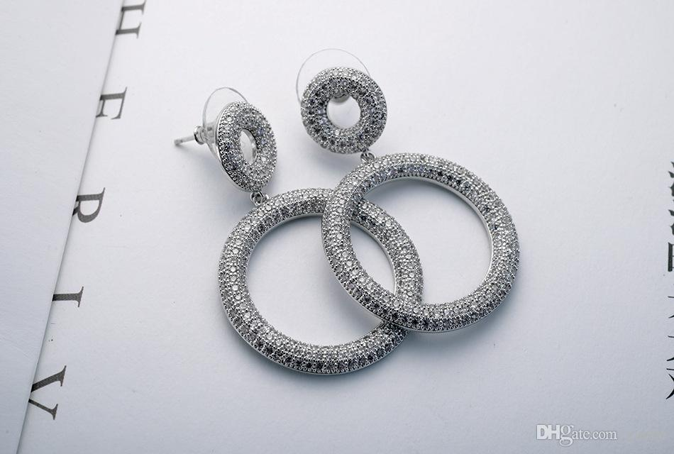 SALE 925 silver Europe Crystal from Swarovski new fashion creative cz Earrings classic retro micro set hot jewelry