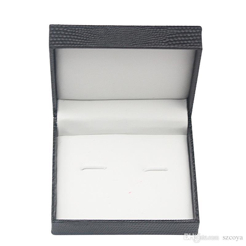تغليف المجوهرات عرض زر الكم قلادة مربع مربع هندسي شخصية مخصصة تصميم أسود رجل شعار طباعة زر الكم مربع الكثير