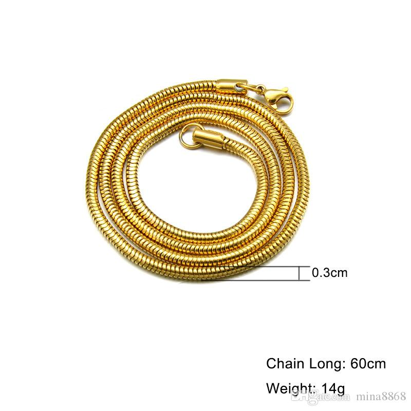 Wholesale 316L Stainless Steel Necklace for women men Silver/Gold Plated Snake Chain Necklace Width 3MM Length 60CM