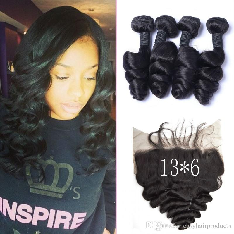 136 Inch Full Lace Frontal Closure With 4 Bundles Indian Virgin