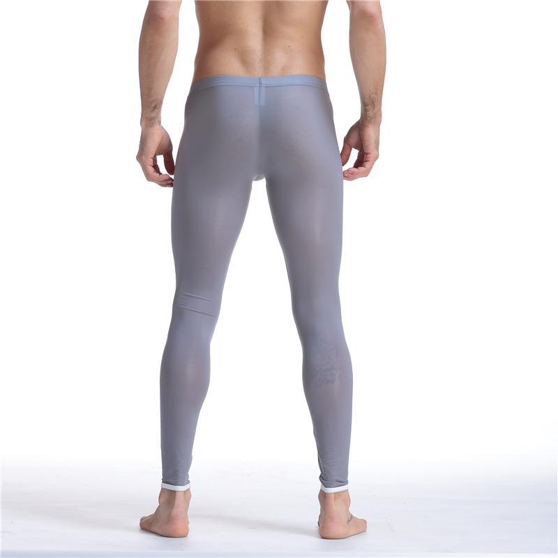 Seksi Erkekler Mesh Şeffaf Örgü Erotik Ultra-ince Eşcinsel Paçalı Don Buz ipek Tayt Pantolon Tayt Rahat Uzun Külot Erkek Pantolon Sheer