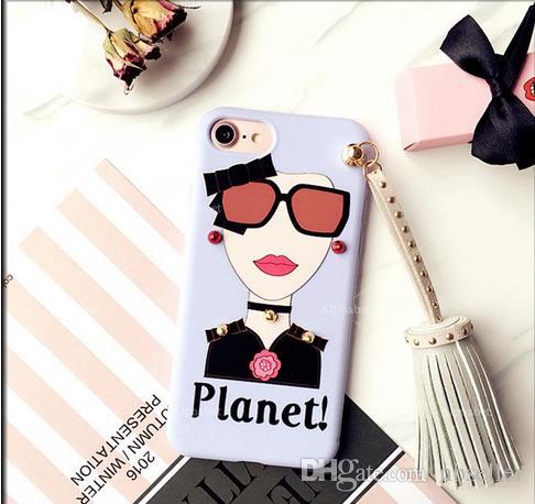 Kore Stili Perçin Püsküller kolye TPU Kılıf iPhone 7 7plus 6 6s 6plus Yumuşak TPU Case Arka Funda Moda Güneş Kız Boyama için