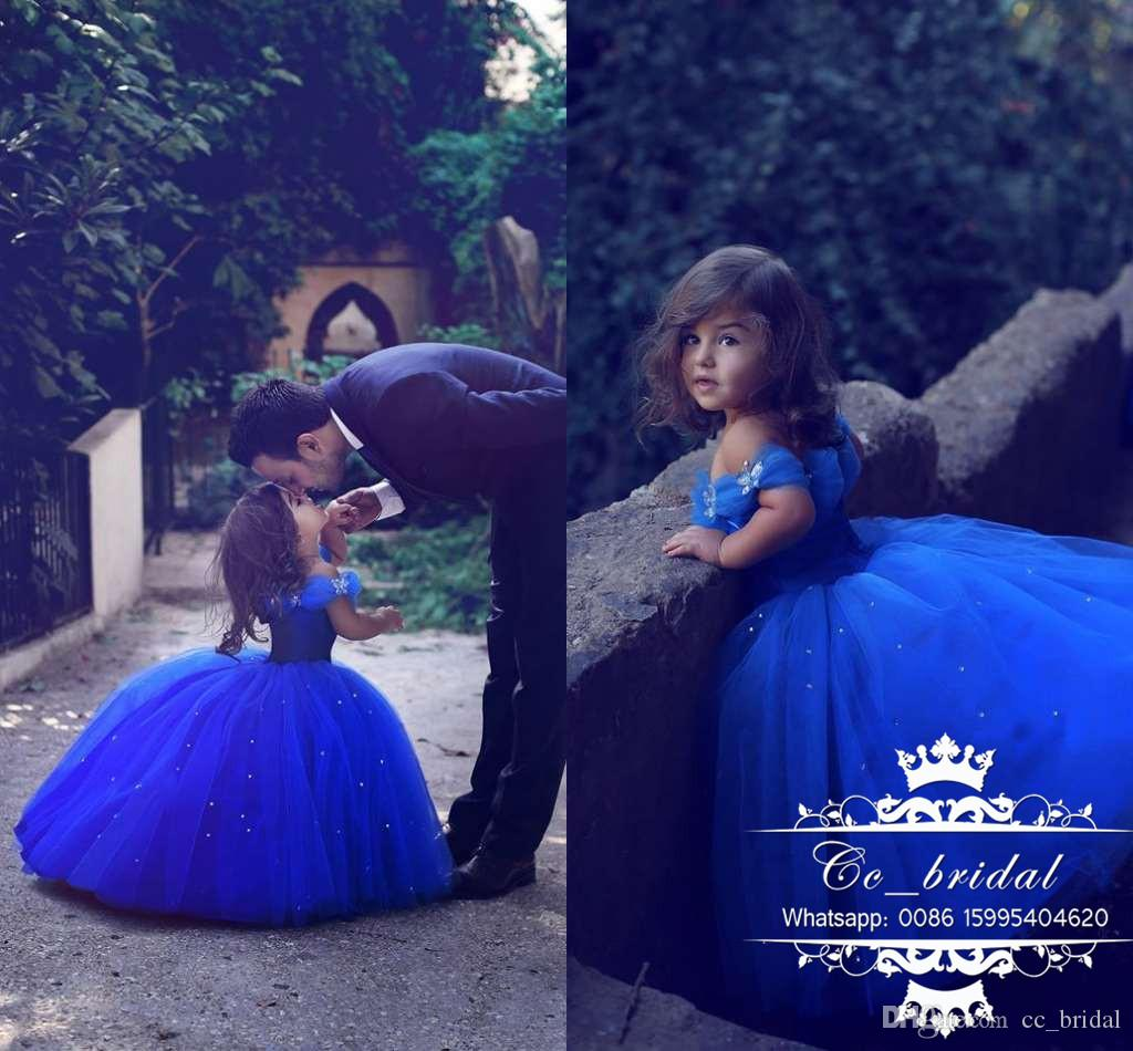 b49a0468f2c0 Stunning Butterfly Princess Girls Cinderella Dresses 2017 Ball Gown Royal  Blue Girl's Pageant Gowns Lovely Cap Sleeves Wedding Party Dress