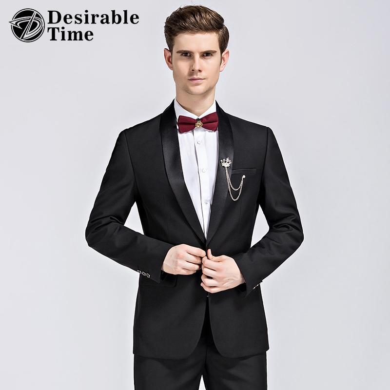 2017 Wholesale Party Wear Men Black Suits Slim Fit Shawl Collar ...