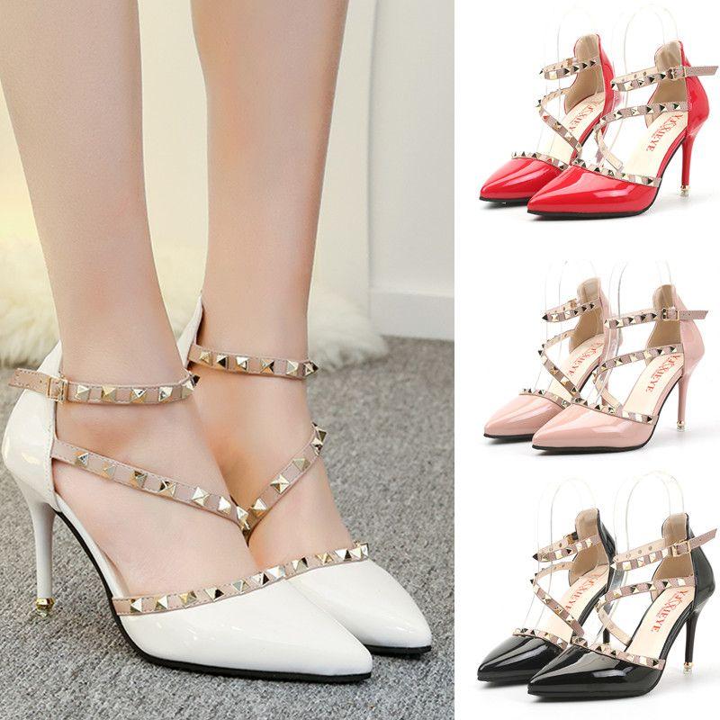 4c803de2aaa0 Runway Scarpin Nude High Heels Pointed Toe Rivet Pumps Fashion Brand ...