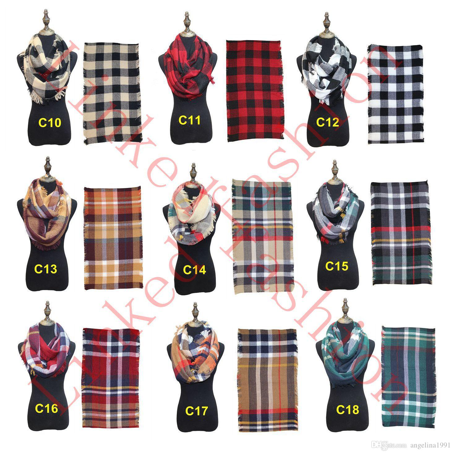 Women's Plaid Scarf Cozy Oversized Tartan Tassel Fashion Wrap Grid Shawl Check Pashmina Cashmere scarves Lattice Neck Stole Blanket DHL free