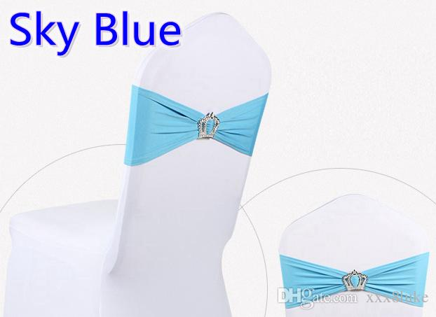 Sky blue colour Crown buckle lycra sash for wedding chairs decoration spandex band stretch bow tie lycra ribbon belt on sale