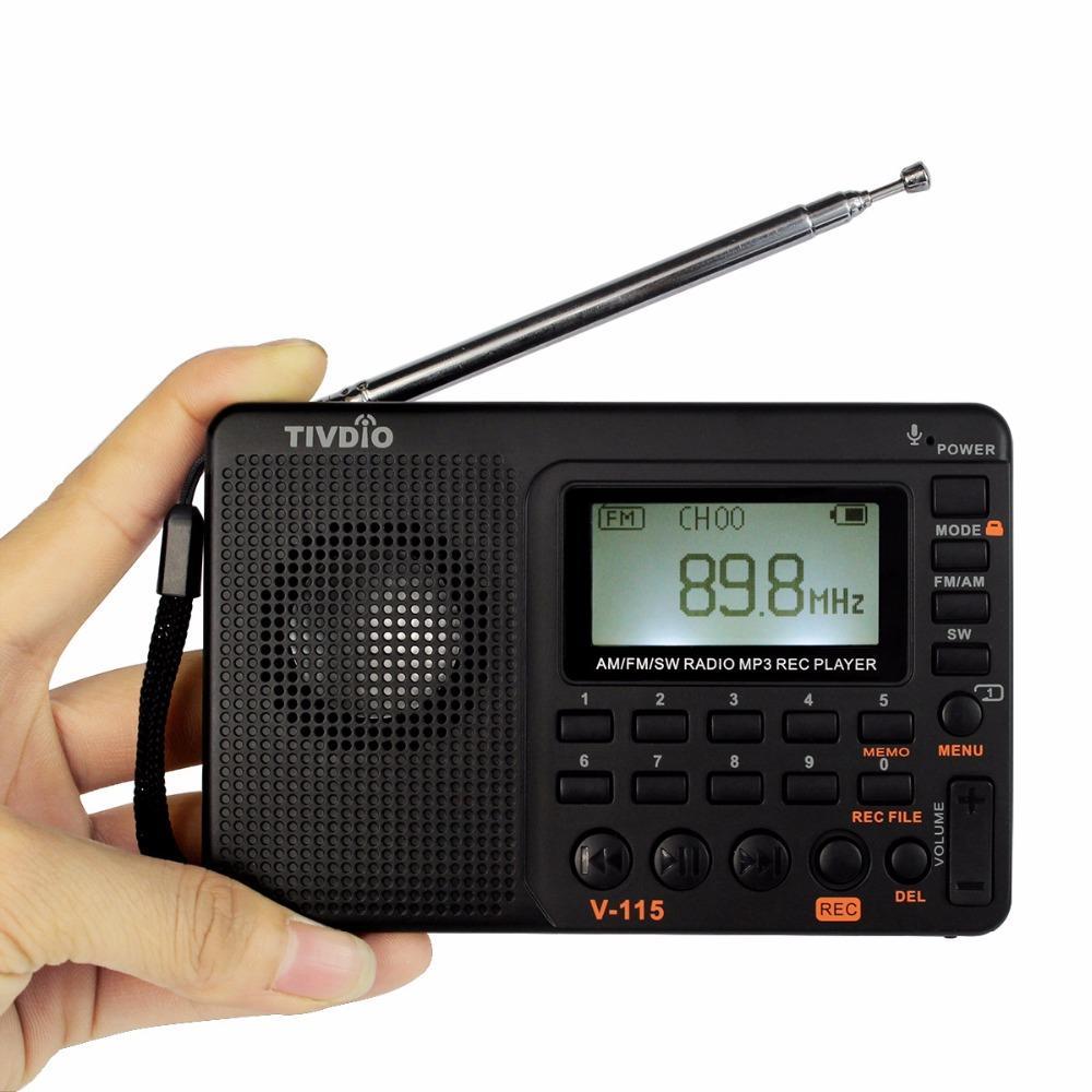 TIVDIO V-115 FM/AM/SW Radio Multiband Radio Receiver Bass Sound MP3 Player  REC Recorder Portable Radio with Sleep Timer F9205A