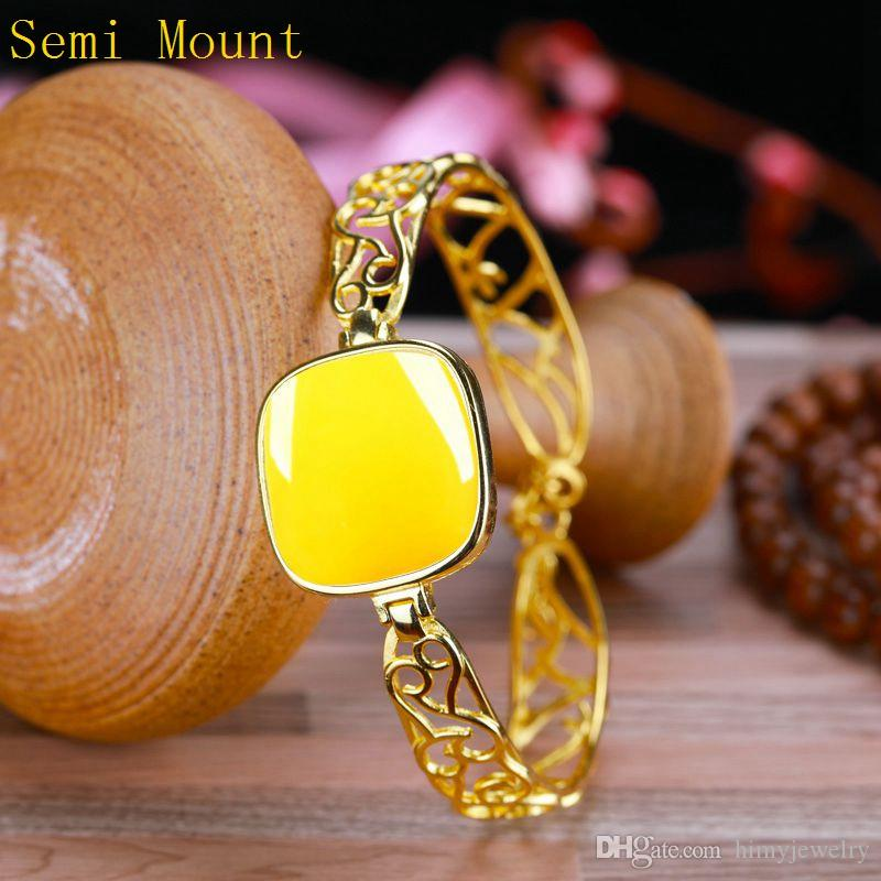 Real Sterling Silver 925 Plated Yellow Gold Women Semi Mount Bracelet for Cushion Cabochon 20x20mm Amber Agate Trendy Fine Jewelry
