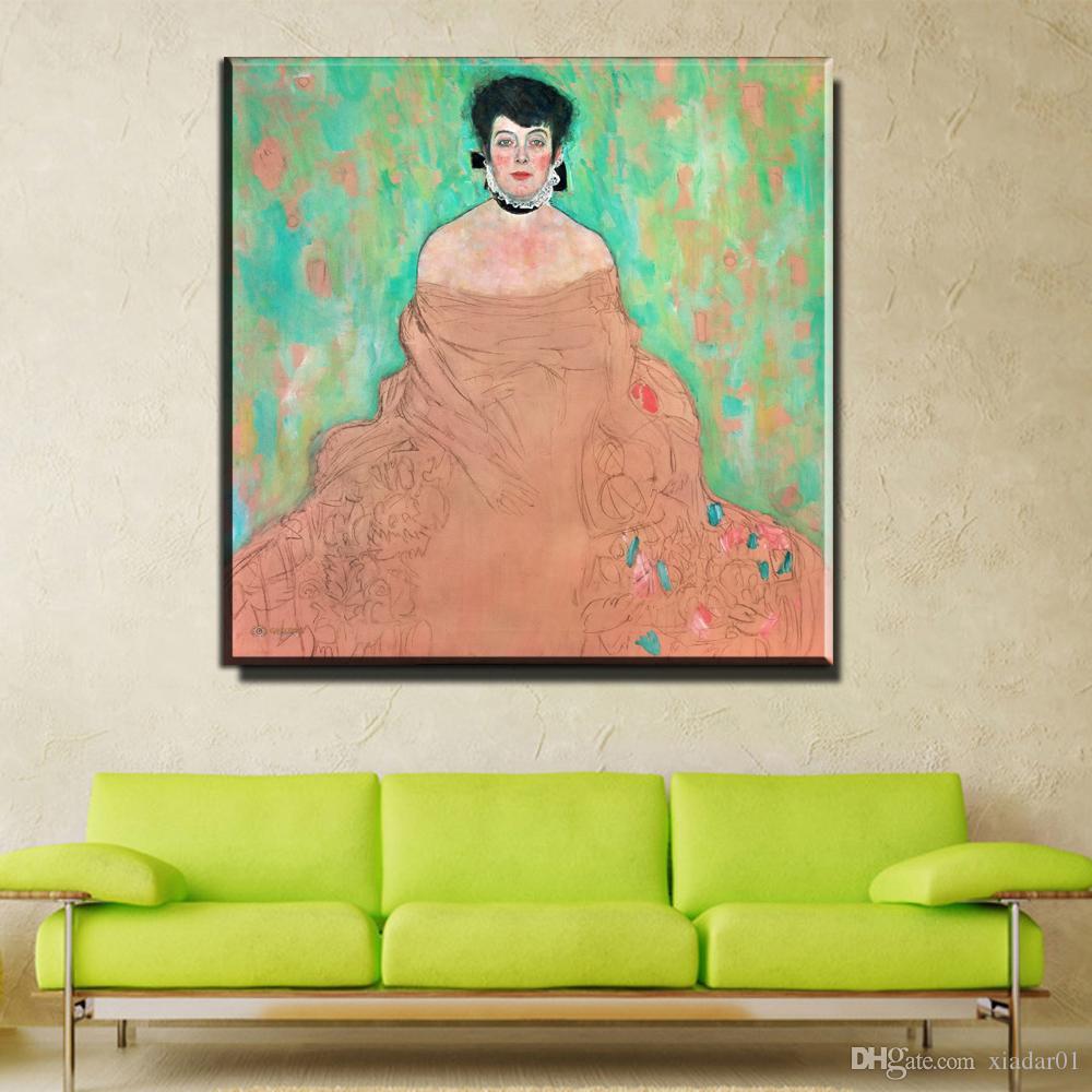 ZZ747 moderno arte del retrato de la lona hermosa mujer pintura al óleo de la lona de Gustav Klimt hermoso arte para la decoración de la sala de estar