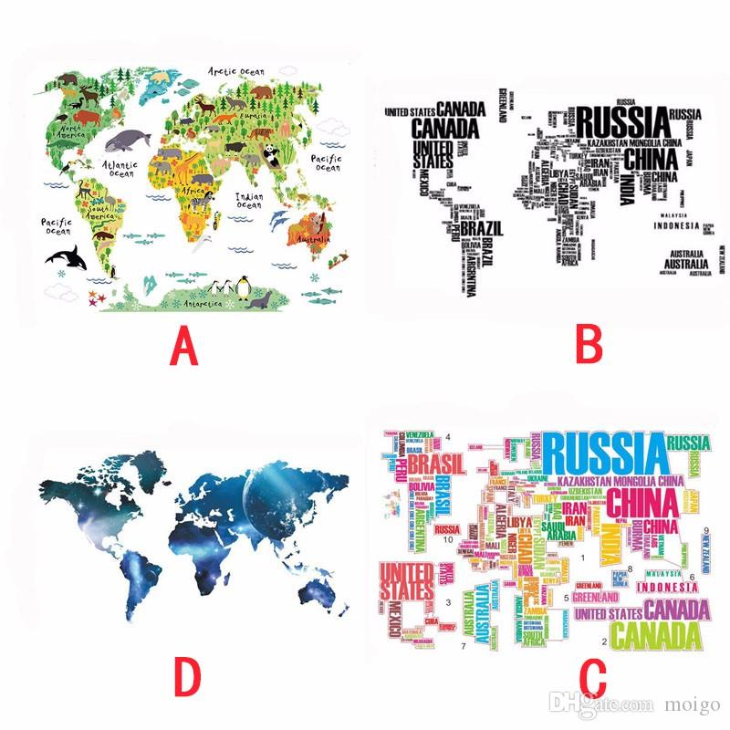 Home Decor Poster Letter World Map Quote Removable Vinyl Art Decals Mural Living Room Office Decoration Wall Stickers