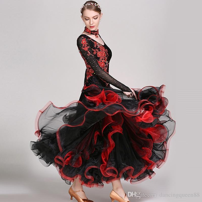 2018 표준 볼룸 댄스 옷 볼룸 댄스 경쟁 드레스 탱고 foxtrot 왈츠 드레스 볼룸 댄스 드레스