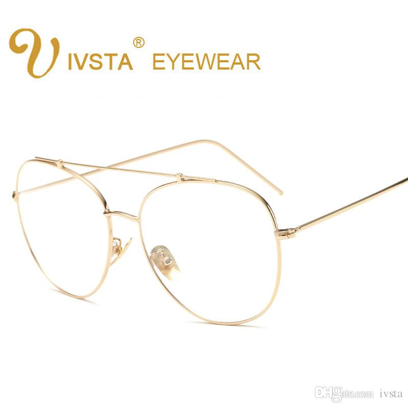 2018 2017 New Elegant Round Wire Glasses Fashion Gold Metal Frame ...