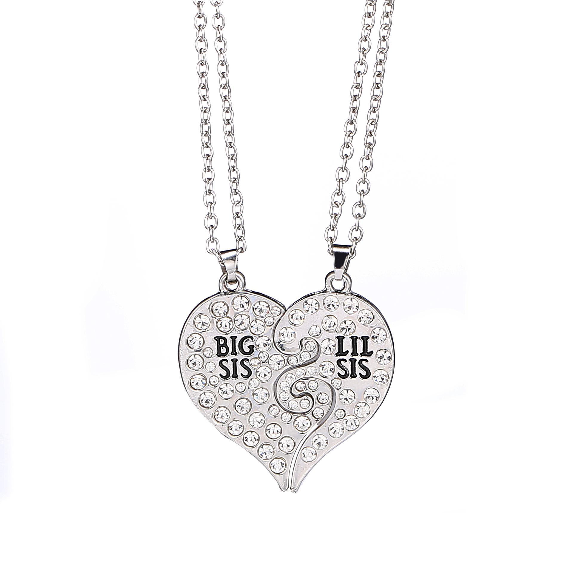Wholesale 2017 new big sis lil sis big sister little sister bff wholesale 2017 new big sis lil sis big sister little sister bff best friends forever gold silver broken heart rhinestone necklace sister gift butterfly mozeypictures Gallery