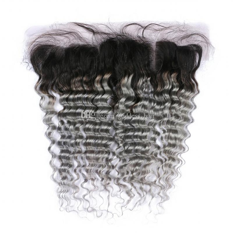 Dark Roots Deep Wave 1B Cabello gris 3Bundles con encaje Frontal Ear to Ear Frontal con Ombre 1B Gray Deep Curly Hair Extension