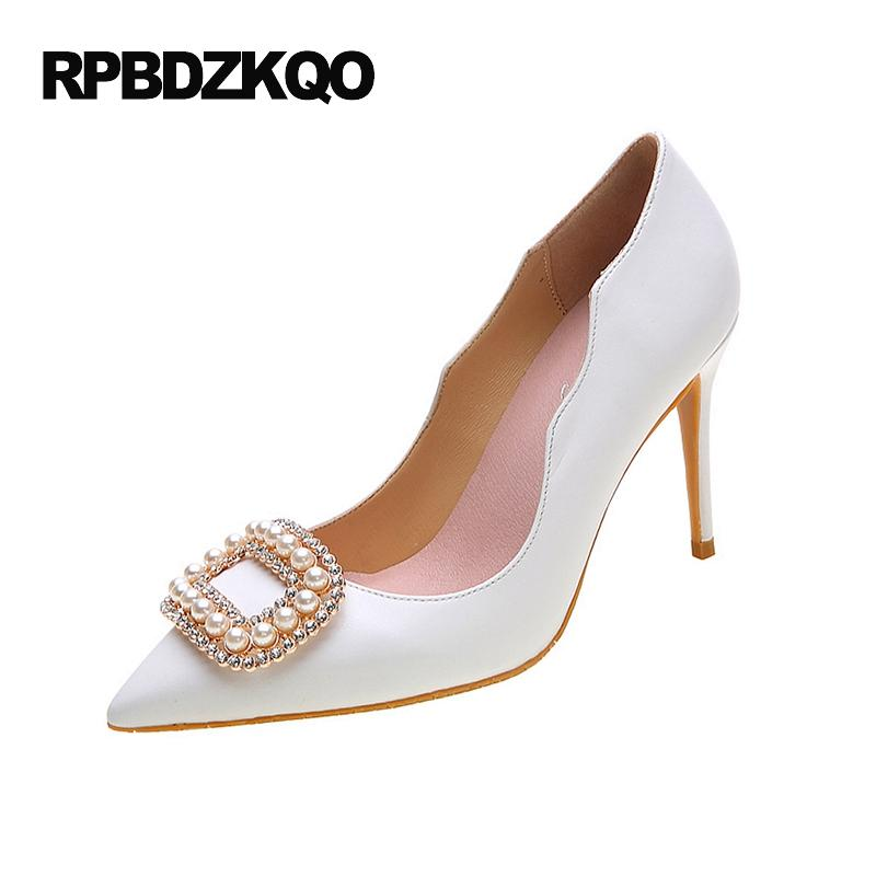 b53785bf85c1 Jewel Rhinestone White Big Size Wedding Super Crystal 33 Thin Ladies  Special Pointed Toe Pearl High Heels Shoes Pumps Chinese Italian Shoes  Summer Shoes ...