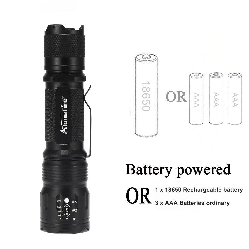 AloneFire TK105 Potente linterna LED 18650 Cree XP-L V6 Luz de bolsillo de alta potencia Penlight 5 modos Luz Bike Strobe Luz de camping
