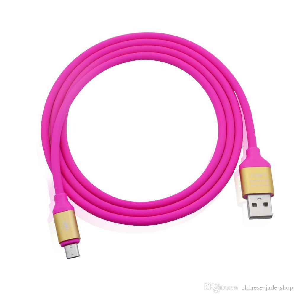 1M 2A VELOCIDADE carga OD 4.0 metal Adatper macio TPE Elastic Micro USB tipo C de Sincronização de Dados Cabo para telefone inteligente