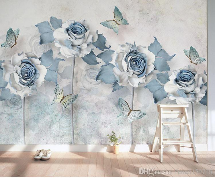 Types Of Wallpaper Coverings: TV Background Wallpaper Painting Room Living Room Simple