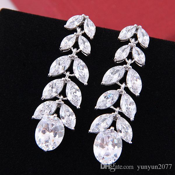 High Quality Unique Luxury Bright Zircon Real Gold Water Drop Leaves Bride Wedding Stud Earrings Fashion Fine Jewelry Accessories For Women
