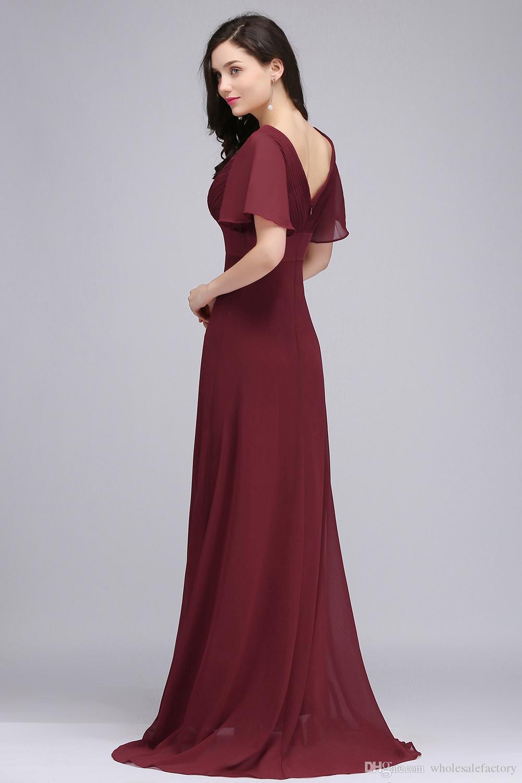 Großhandelspreis Dunkelrot Lange Chiffon Abendkleider V-ausschnitt Low Back Flowy Eine Linie Abendgesellschaft Kleider mit Lautsprecher Ärmeln Günstige Online