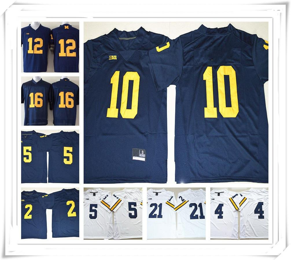 timeless design dd703 2cb2f 100% Stitched NCAA Michigan Wolverines 10 Tom brady College Jerseys 2  Woodson 4 Harbaugh 5 Peppers 21 Howard Jersey